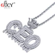 GUCY Custom Name Bubble Letters Chain Pendants Necklaces Iced Out ...