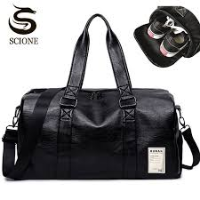 mens pu leather travel bag