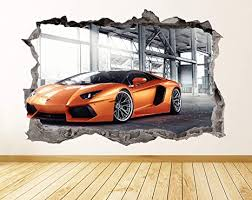 Amazon Com Lamborghini Wall Decal Smashed 3d Graphic Wall Sticker Art Mural Poster Kids Room Decor Gift Up29 50 W X 34 H Arts Crafts Sewing