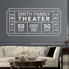 Personalized Family Movie Theater Ticket Wall Decal Custom Vinyl Wall Stickers Homes Living Room Removable Art Muralhj592 Wall Stickers Aliexpress