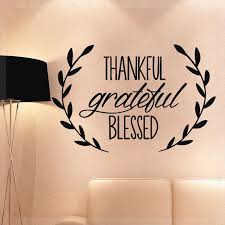 Thankful Grateful Blessed Quote Wall Decal Sticker Home Decor Living Room Bedroom Saying Art Decals Olive Leaves Stickers D575 Wall Stickers Aliexpress