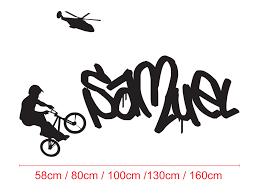 Graffiti Personalised Name Wall Custom Vinyl Decals Sticker Kids Bmx Bike Trick Ozdeco T S Polonaiz