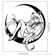 Decal Removable Home Decor Vinyl Decal Cartoon Sailor Moon Sitting On The Moon Baby Room Anime Sticker Wall Paper Wall Sticker Wall Decals For Cheap Wall Decals For Girls Room From Joystickers
