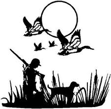 Duck Hunter And His Lab With Flying Ducks Overhead Vinyl Cut Decal