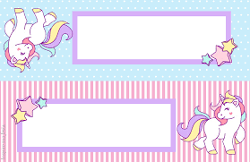Unicornio Tarjetas Invitaciones Y Etiquetas Para Candy Bar Para