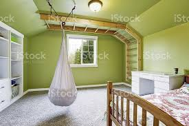 Kids Room In Bright Green With Hanging Chair Stock Photo Download Image Now Istock