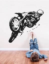 Dirt Bike Wall Decor Dirt Bike Wall Sticker Motorsport Wall Etsy In 2020 Bike Drawing Ktm Dirt Bikes Bike Room
