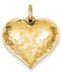 large hammered 14k gold heart pendant