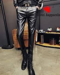 men skinny faux leather pants pleated
