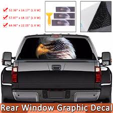 American Flag Bald Eagle Car Rear Window Graphic Decal Stickers For Truck Suv Van