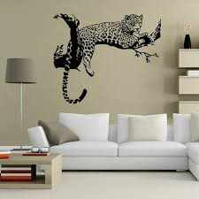 Wild Large Leopard Animal Wall Sticker Tiger 48cm 80cm Wall Decal Art Mural Home Decor Black Color Home Decor Tiger Wall Decalwall Sticker Tiger Aliexpress