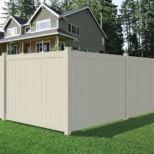 Outdoor Essentials Pro Series Lakewood 6 Ft H X 8 Ft W Tan Vinyl Flat Top Fence Panel In The Vinyl Fence Panels Department At Lowes Com