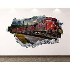 Amazon Com West Mountain Old Train Wall Decal Art Decor 3d Locomotive Sticker Mural Kids Room Vinyl Custom Gift Bl42 22 W X 14 H Home Kitchen