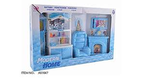 Amazon Com Meeyum Kids Pretend Play Mini Doll Living Room Furniture Play Set Blue Toys Games