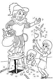Zwarte Piet Strooit Snoepgoed Vanaf Stoel Kleurplaat