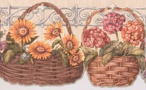Yellow Pink Blue Flowers In Basket White Fence Floral Wallpaper Border Retro Design Roll 15 X 9 25 Walmart Canada