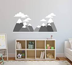 Amazon Com Mountains Wall Decal Nursery Wall Decals Mountain Clouds Baby Room Decor Kids Bedroom Art Mural Vinyl Sticker 50 W X 24 H Baby