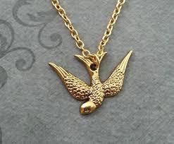 bird necklace sparrow jewelry gold