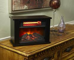tabletop electric fireplace in black at
