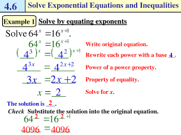 solving exponential equations and