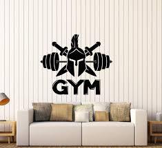 Vinyl Wall Decal Logo Spartan Warrior Helmet Barbell Signboard Sticker Wallstickers4you