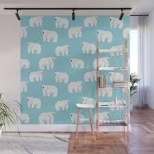 Polar Bear Pattern Cute Animals Print For Kids Room Decor Boys And Girls Nursery Wall Mural By Charlottewinter Society6