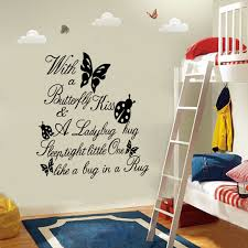 Nursey Vinyl Wall Decal With A Butterfly Kiss And A Ladybug Hug Kids Girls Boys Quotes Room Decor Vinyl Wall Decals Wall Decalsroom Decoration Aliexpress