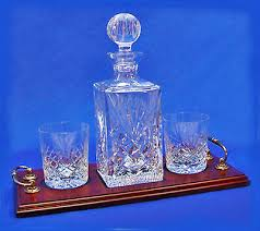 whisky glass decanter tray set hand cut