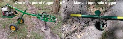 One Man Petrol Auger Vs Manual Post Hole Digger Self Sufficient Culture