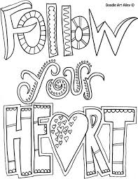 Quote Coloring Page Follow Your Heart Met Afbeeldingen