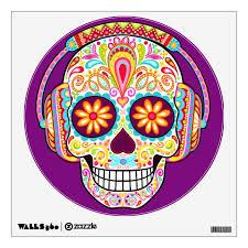 Sugar Skull Wall Decal Day Of The Dead Art Zazzle Com