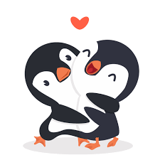 cute penguins happy couple hug