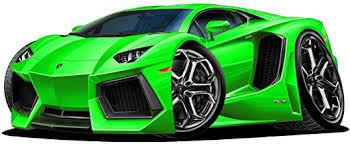 Amazon Com 18 Lamborghini Aventador Green Wall Decal Cartoon Car 3d Sticker Mural Kids Room Sports Den Man Cave Boys Home Kitchen