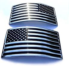 Amazon Com Usa Us American Flag X 2 Chrome Flexible Badge Decal Emblem For Car Truck Suv Kitchen Dining