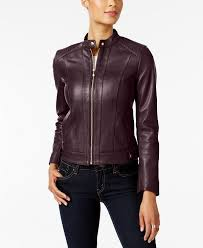 luxurious seamed chianti leather jacket