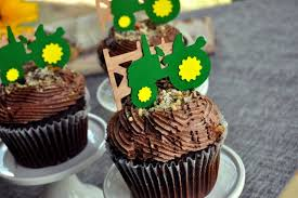 Tractor Cupcake Toppers 1 Set Of 12 Toppers With Real Cherry Wood Fence Green And Yellow Tractor Birthday Party Decorations By Confetti Momma Catch My Party