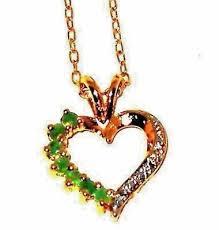 green emerald heart pendant natural not