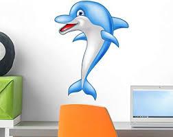 Amazon Com Wallmonkeys Happy Dolphin Cartoon Wall Decal Peel And Stick Graphic 18 In H X 13 In W Wm134938 Furniture Decor