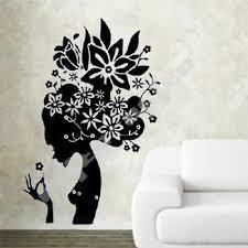 Black Flower Girl Wall Decal Girls Wall Decals Wall Decals Flower Wall