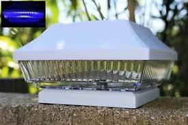 2 Pack 4 X 4 White Pvc Vinyl Fence Post Cap Solar Light With Blue Smd Led Ebay