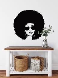 African Woman Wall Decal Afro Girl With Glasses Decal Etsy Wall Decals Word Wall Art Afro Girl