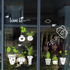 Fresh Potted Plant Wall Decal Sticker Window Glass Store Glass Door Wall Art Mural Poster Home Decor Wall Applique 40 X 60cm Wall Appliques Wall Decals Stickerswindow Glass Aliexpress