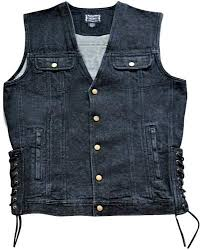 black denim motorcycle vest and 4