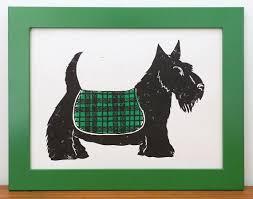 scottie dog green lino letterpress