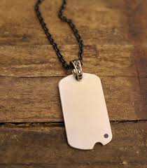 18k white gold dog tag with black