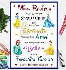 teacher gifts disney personalised poem