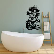 Vinyl Wall Decal Beautiful Sexy Mermaid Sea Queen Crown Shell Fantasy Wallstickers4you