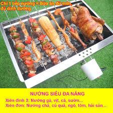 Bếp nướng than hoa TopV V5M, quay tự động, cỡ lớn, lò quay vịt, lò nướng  than, lò nướng, siêu đa năng, thơm ngon, chín đều, an toàn sức khỏe, inox  bền