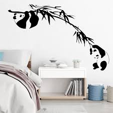 Panda Bamboo Tree Branch Wall Decals For Home Decor Kids Room Baby Nursery Asian Animal Forest Jungle Panda Vinyl Wall Stickers Wall Stickers Aliexpress