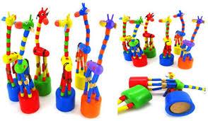 Amazon Com Shybuy Wooden Giraffe Push Puppets Body Giraffe Desktop Toys Cartoon Fingers Toys Home Kids Room Tv Cabinet Decoration Colorful Shoes